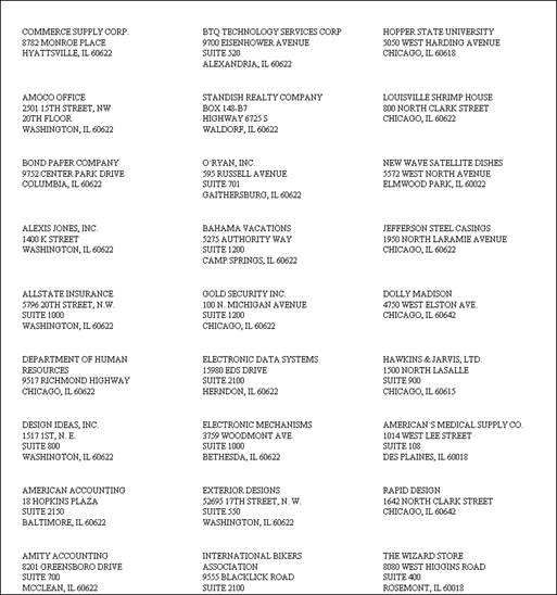 Company Labels – USPS Standard (Avery 5160)